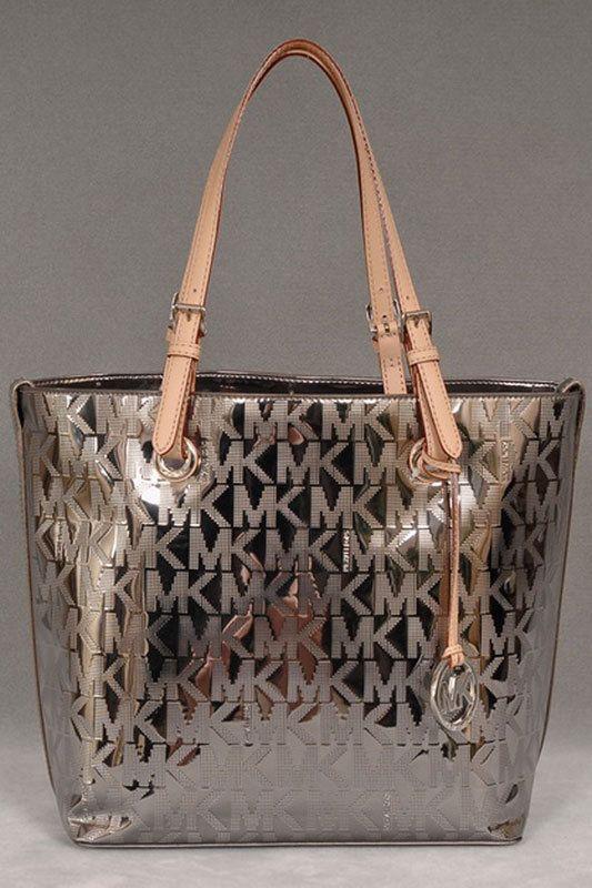 Michael Kors Mk Logo Mirror Metallic Grab Bag In Nickel