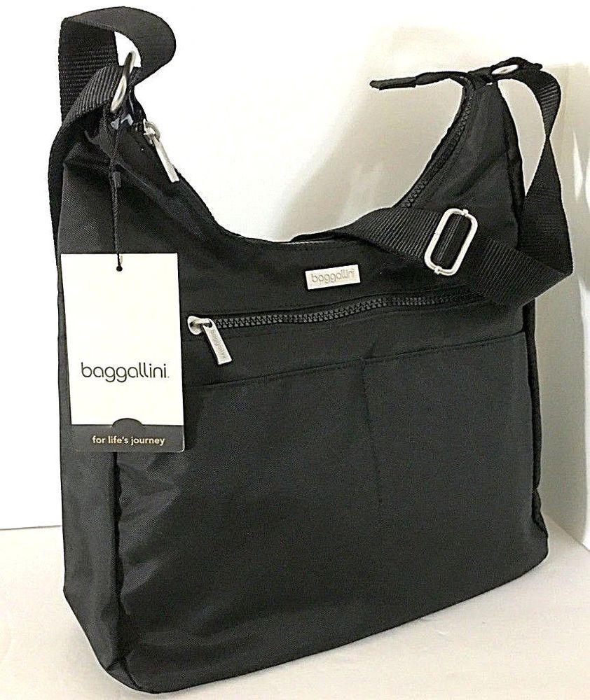 NWT baggallini Pocket Hobo Bag Black lightweight travel black