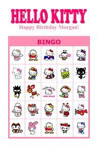 Personalized Hello Kitty Birthday Party Bingo Game