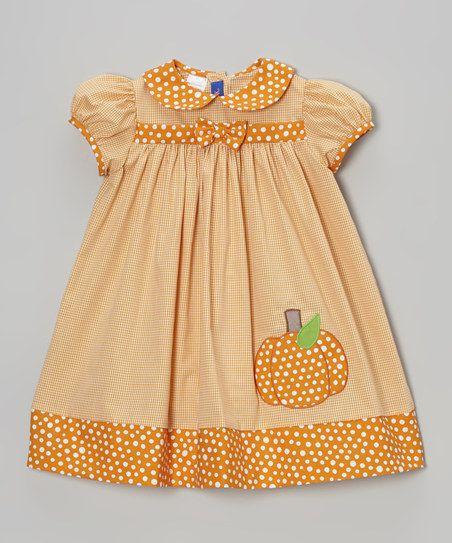 Orange Gingham Pumpkin Dress - Infant & Toddler
