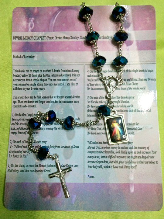 Divine Mercy Chaplet. More chaplets are available. Check this out in my FB page. (http://www.facebook.com/Agonotheta)