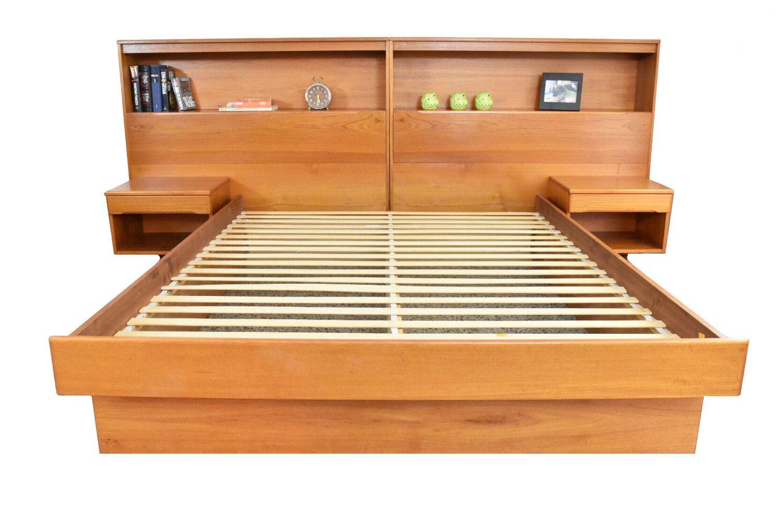 Stunning Danish Modern Teak Queen Platform Bed W Bookshelf