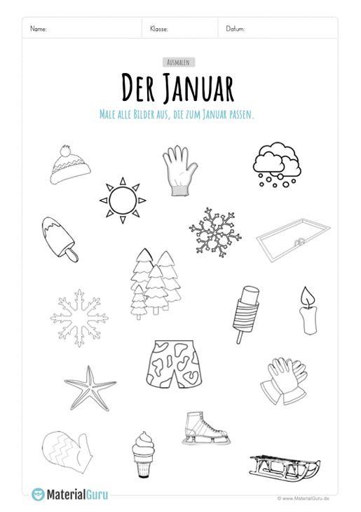 Arbeitsblatt Abbildungen Zum Januar Ausmalen Vorschule