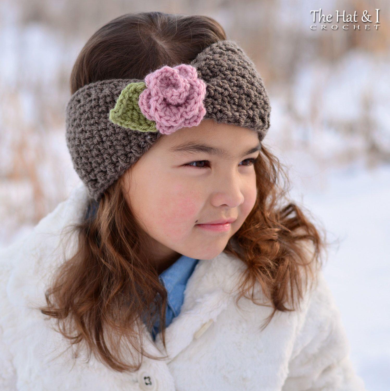 Crochet PATTERN - Cottage Rose Warmer - crochet headband head wrap ...