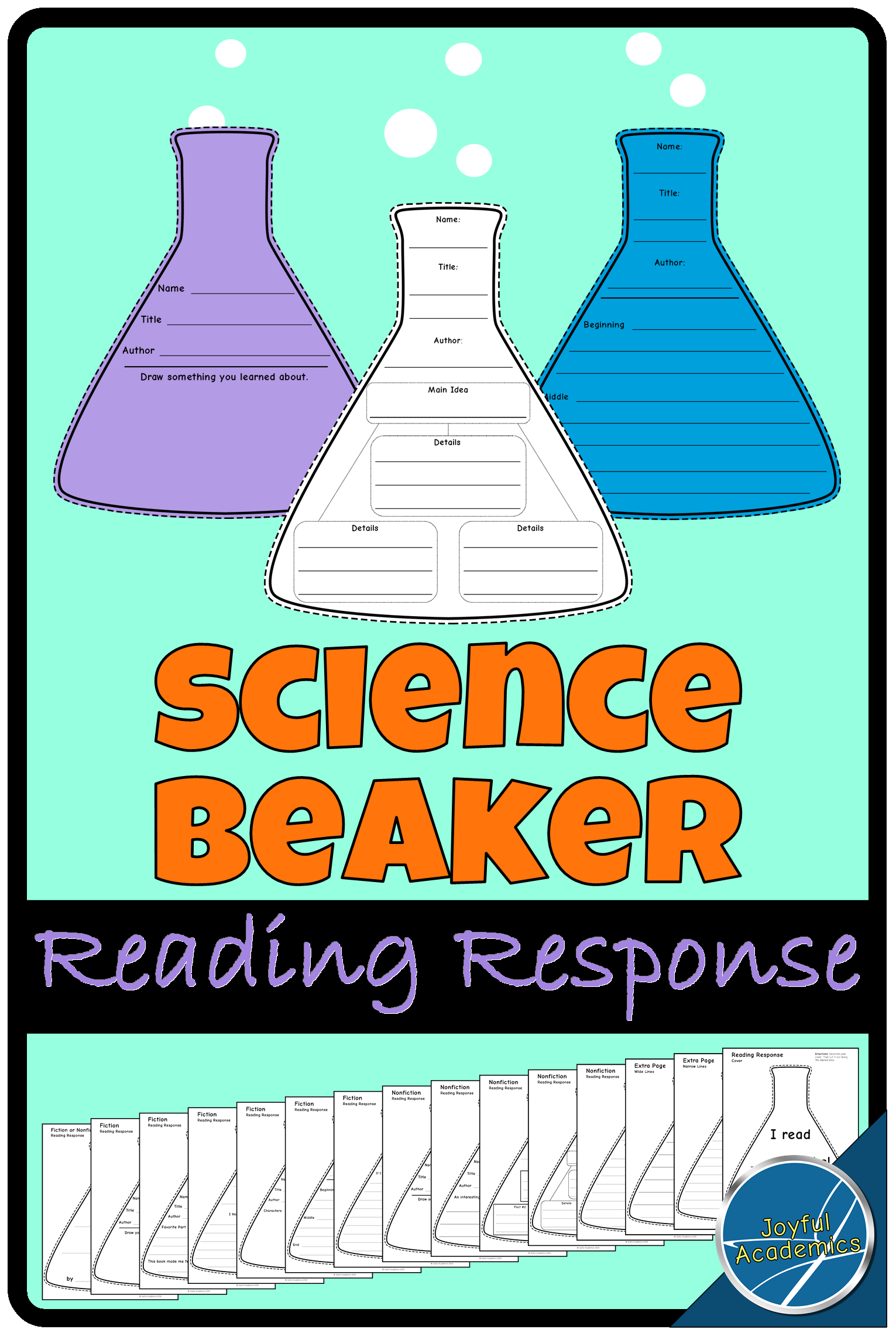 These science-beaker-shaped reading response sheets make a fun writing  activity for kinde…   Elementary reading activities [ 2281 x 1531 Pixel ]