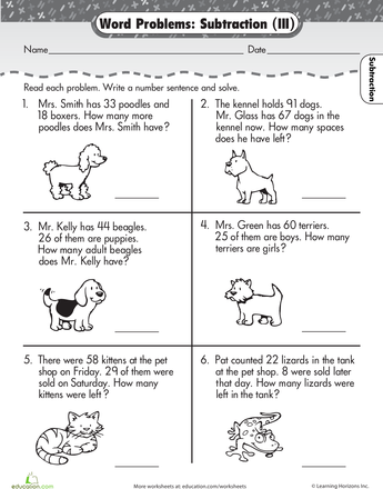 Word Problems Subtraction 1st grade math worksheets