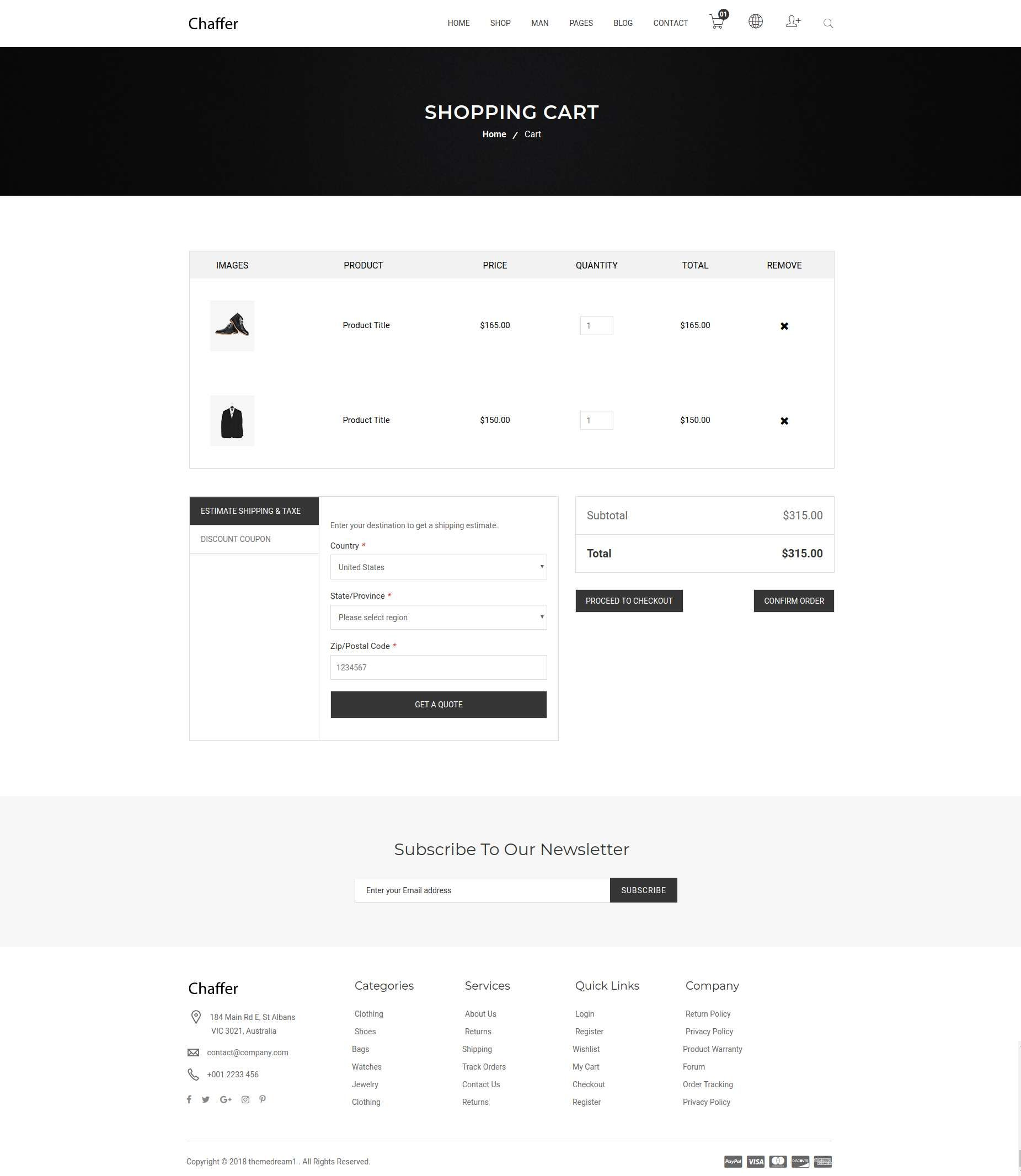 Chaffer Minimal Ecommerce Template Shopping Pinterest