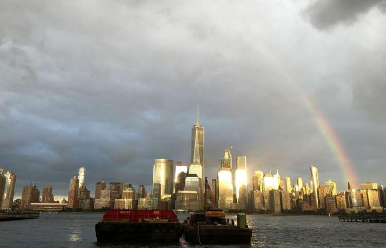 a rainbow over the world trade center