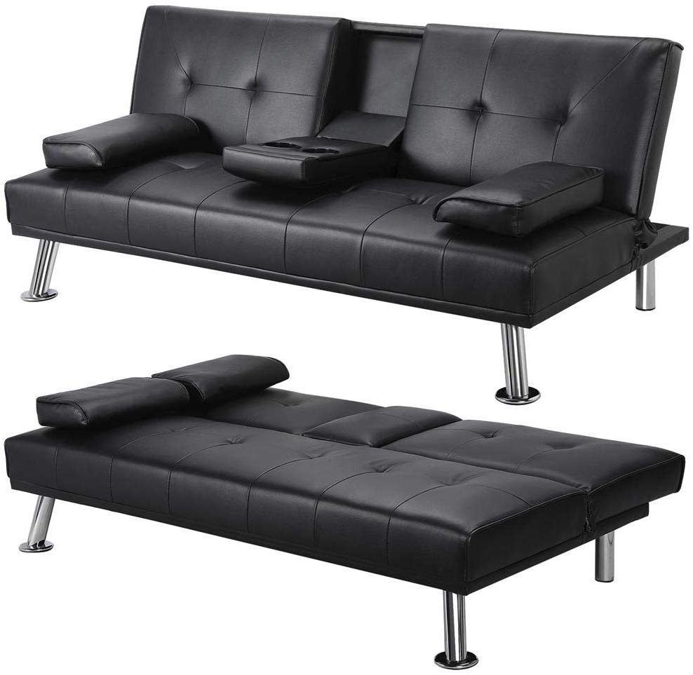 Yaheetech Modern Extra Comfort 3 Seater Faux Leather Sofa