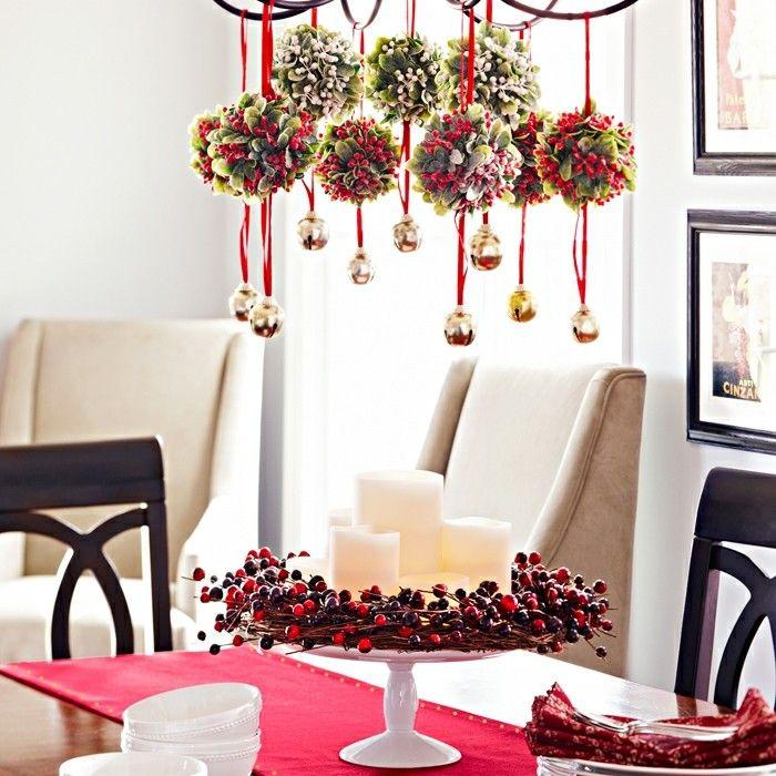 wohnideen esszimmer weihnachtliche dekoideen roter tischlaeufer ...