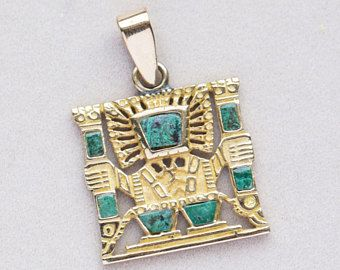 Vintage Aztec Mayan Man Motif Turquoise Pendant 18k Aztec Jewelry