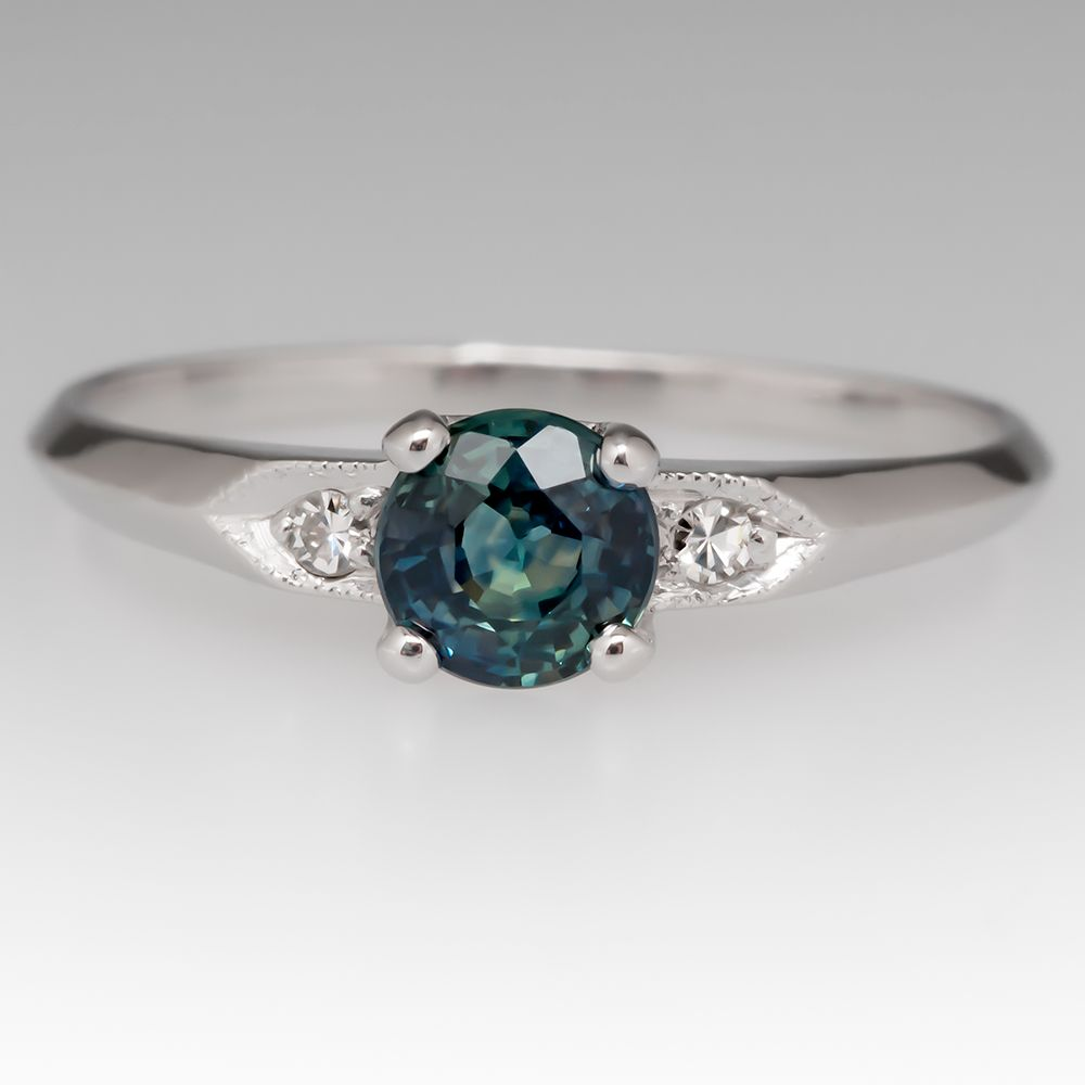 Blue Sapphire or Green Emerald Antique Style Halo ring