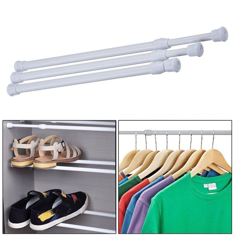 Adjustable Extendable 3 Sizes Curtain Rod Metal Spring Loaded