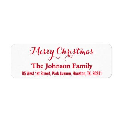 DIY Custom Merry Christmas Elegant Return Address Label - script