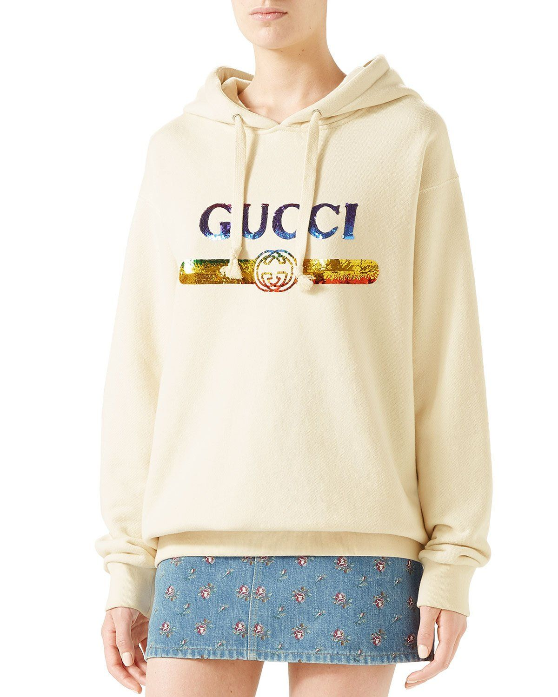 Gucci Sequin Logo Hooded Sweatshirt In Black Red hooded