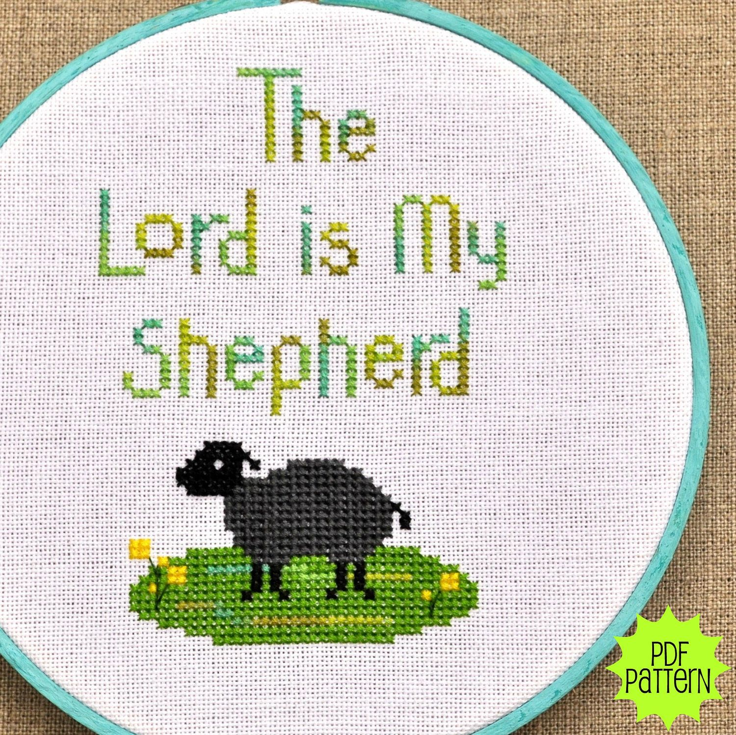 The Lord my Shepherd Inspirational Sampler Silver Creek Samplers Counted Cross Stitch Pattern Scripture Sampler Pattern Only Religious