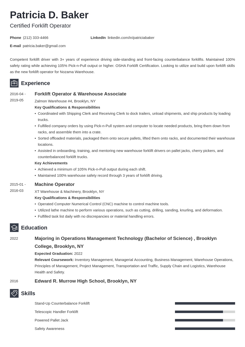 Forklift Operator Resume Example Template Newcast Resume Examples Job Resume Examples Resume