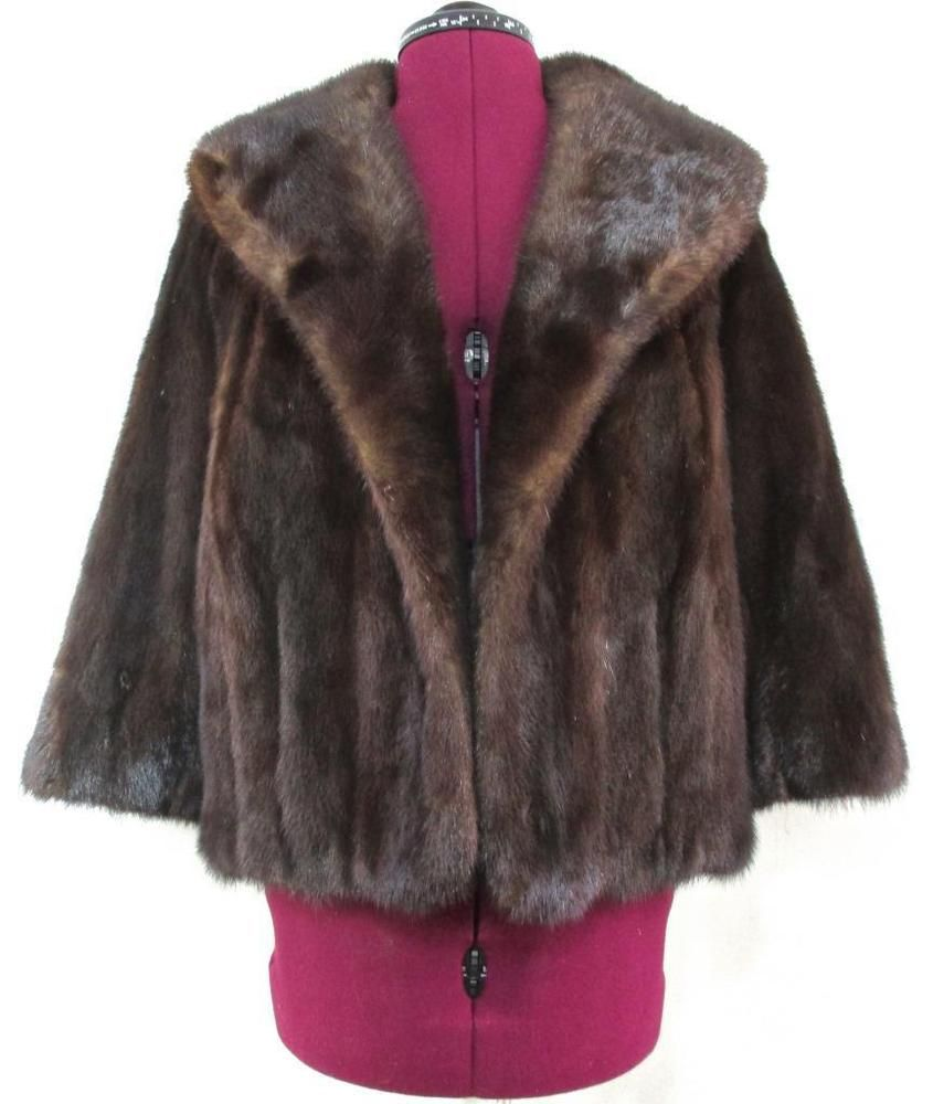 LADIES Medium VINTAGE Dark Brown Mink Fur Shawl Lapel Jacket EUC (DRY CLEANED) #Unbranded #BasicJacket