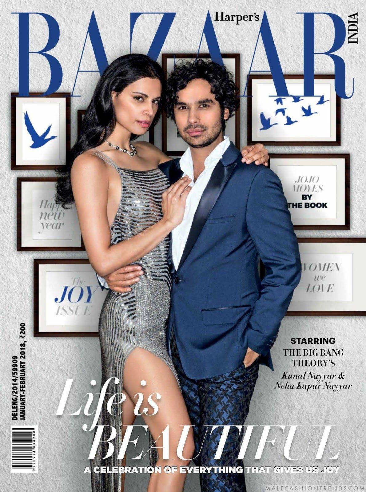 El comediante Kunal Nayyar posa para Harper\'s Bazaar India junto a ...
