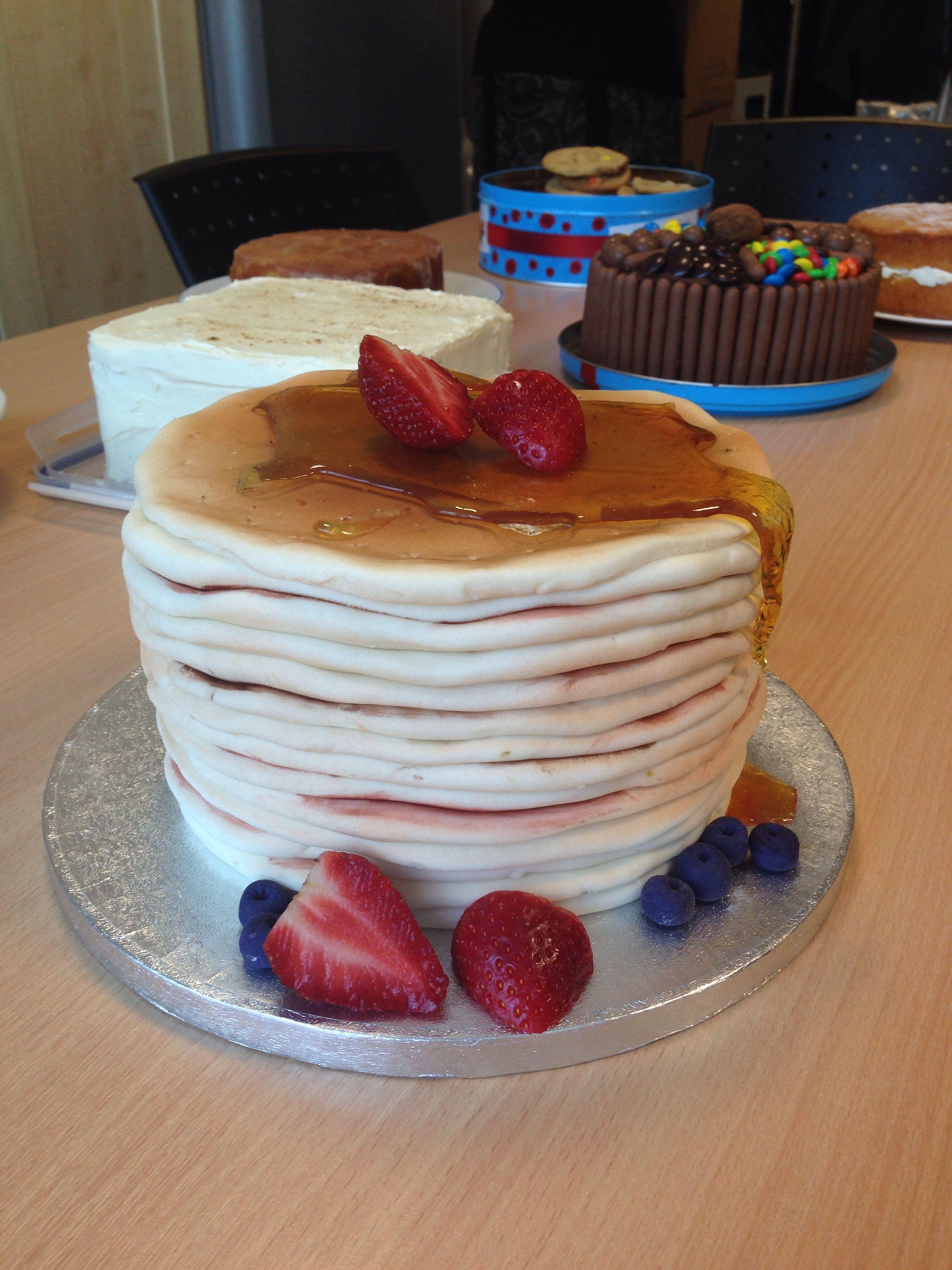 Pancake Stack Cake With Blueberry Vanilla Buttercream