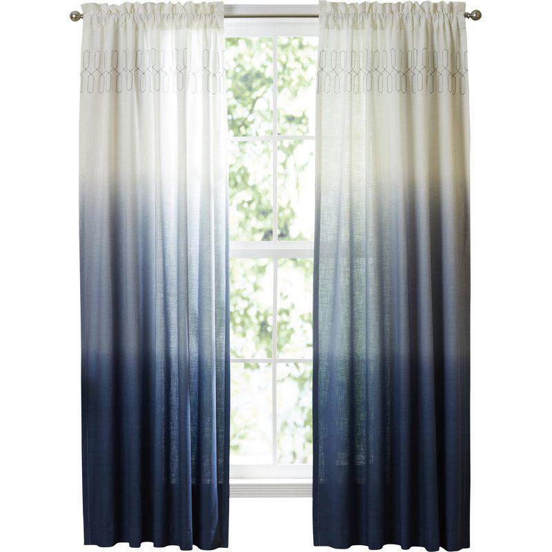 Higbee 100 Cotton Ombre Sheer Rod Pocket Single Curtain Panel