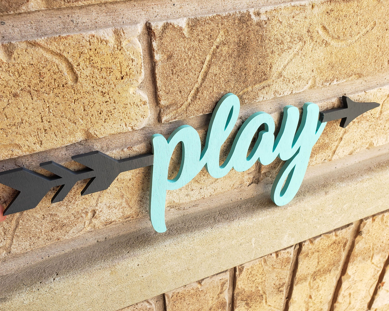 Play Sign Play Arrow Sign Kindergarten Classroom Decor Wooden