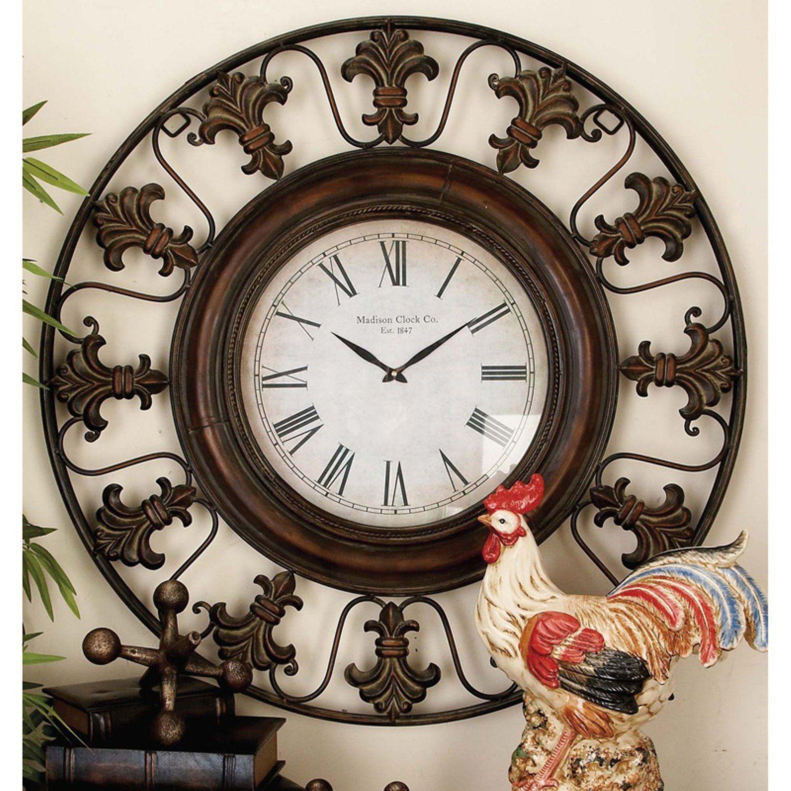 Decmode Metal Wall Clock 38 Diam In In 2021 Wall Clock Rustic Wall Clocks Black Wall Clock
