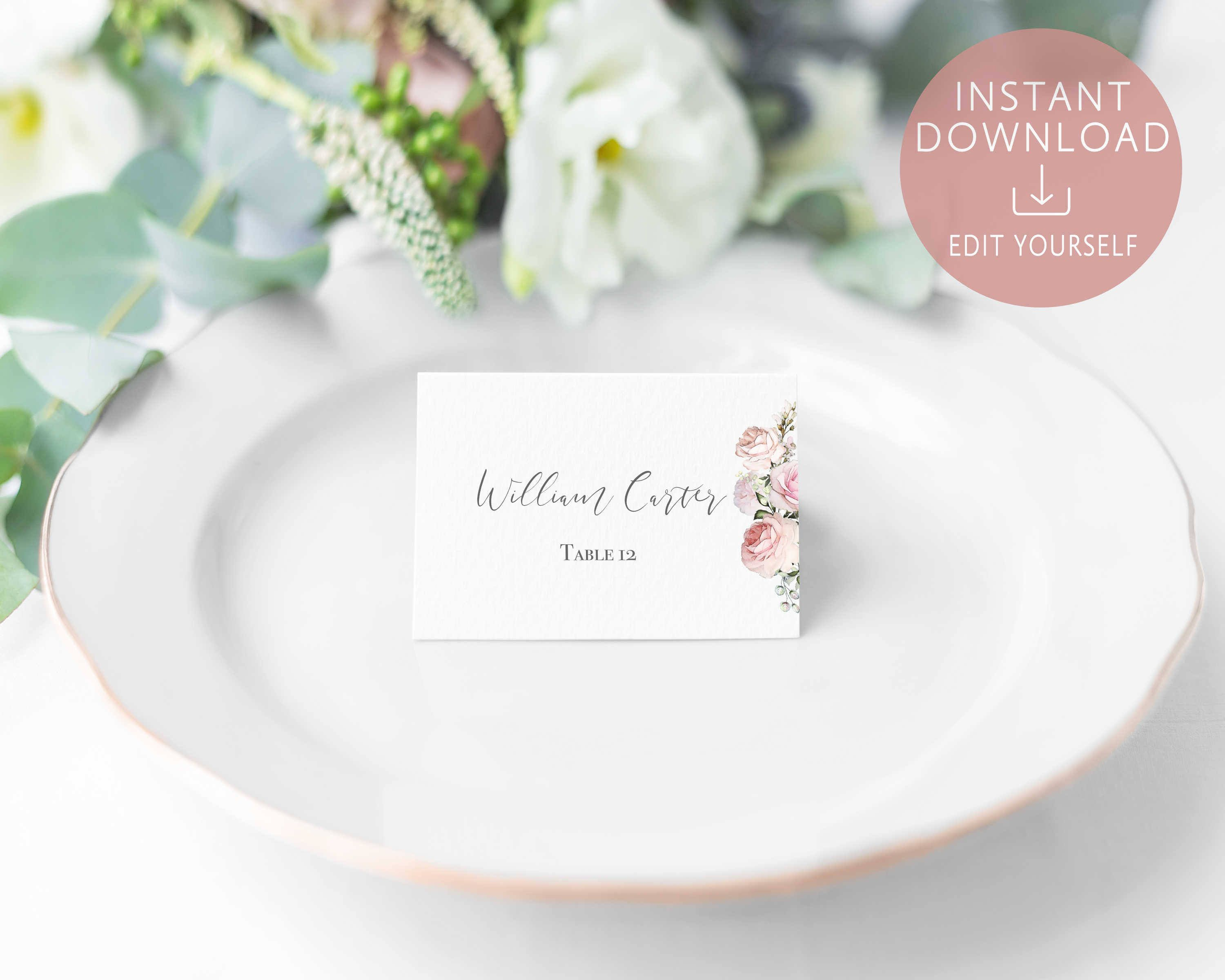 Wedding Place Cards Printable Editable Name Card Template Etsy Free Place Card Template Place Card Template Wedding Place Cards