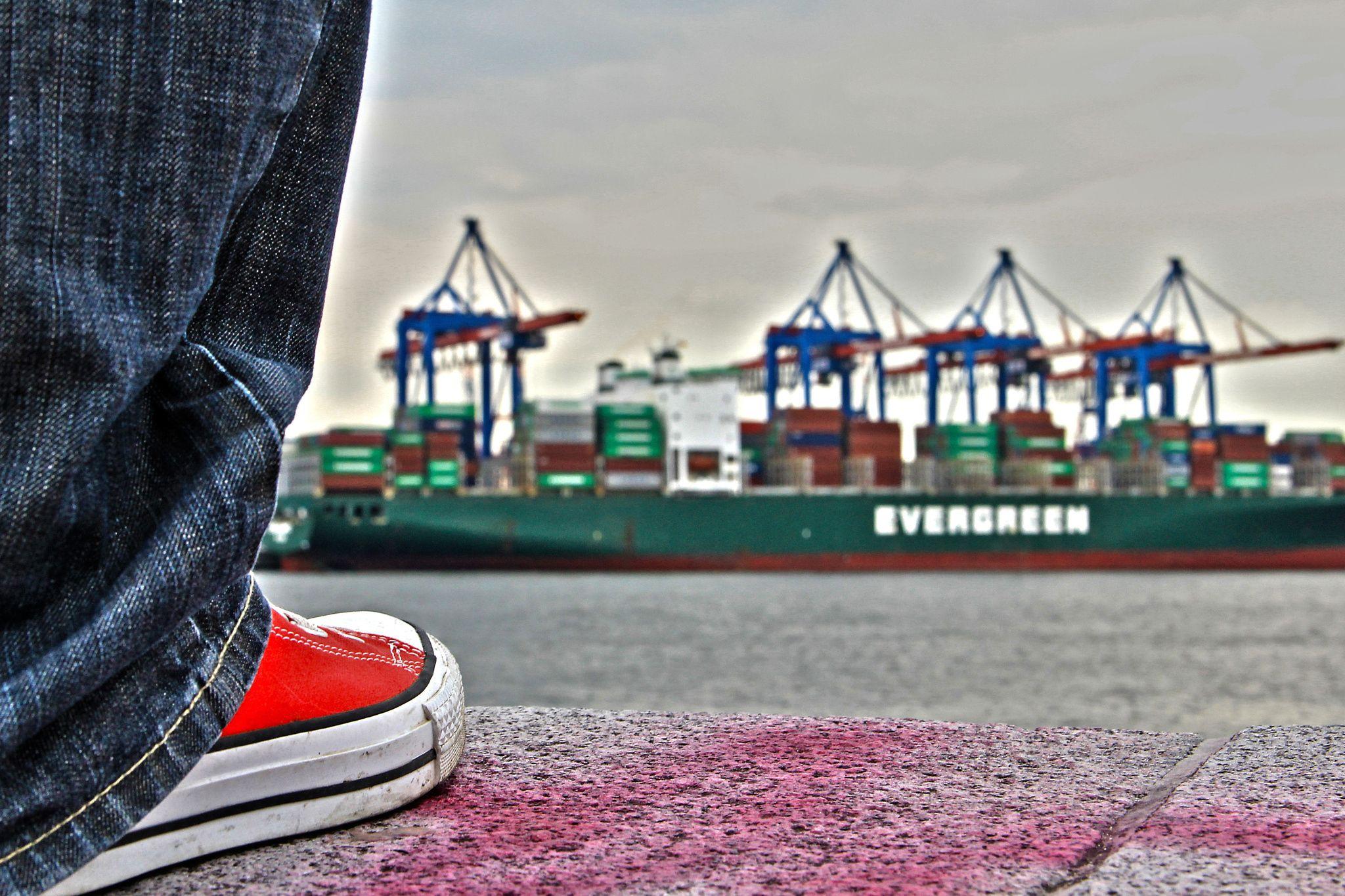 Evergreen Bleeding Chucks by Michael Schloz on 500px.                                     #chucks #evergreen #elbstrand #hamburg #citytrip #citytriphamburg #shoe #containerterminal #containership #ship #wall #hamburgbyday #port #portofhamburg