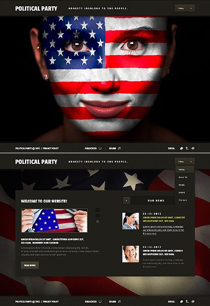 Template Political Party Flash Website Template Politics - Political website templates