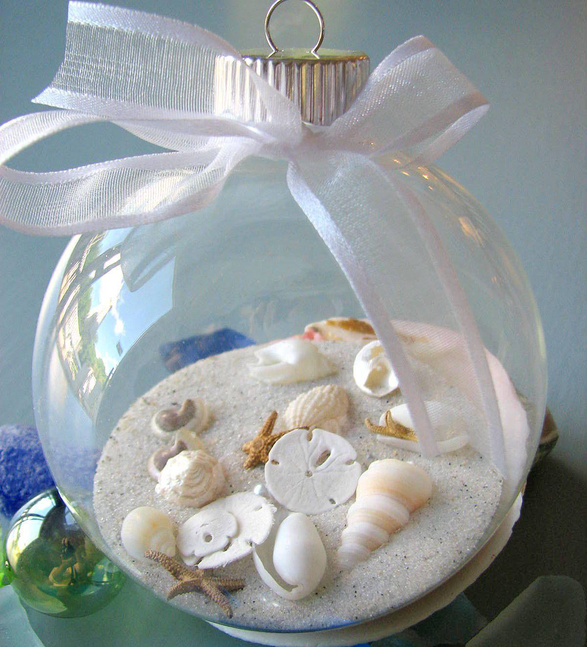 seashell christmas ornament for beach decor nautical shell christmas ornament ball 1800 via etsy