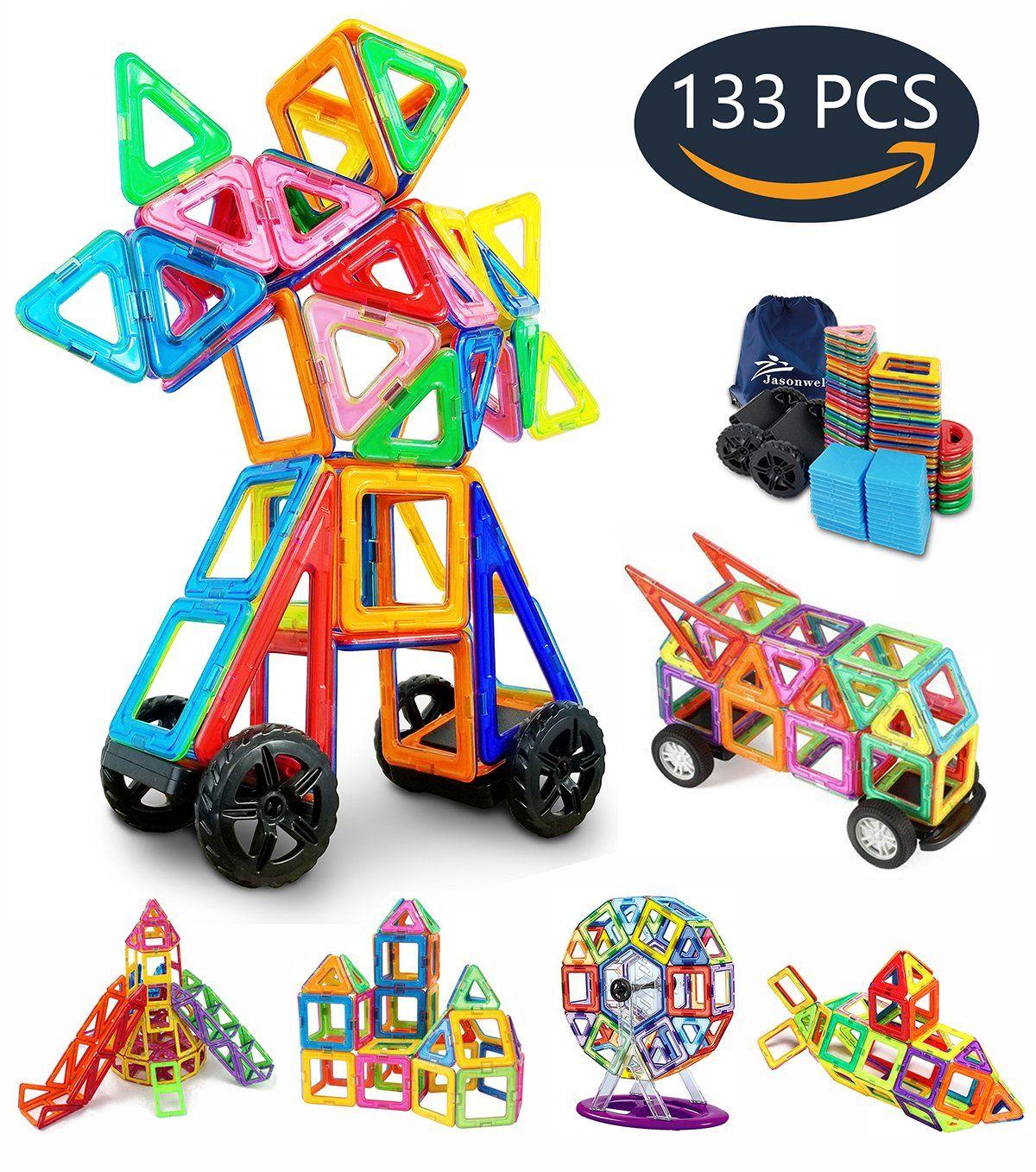 Jasonwell 133 Pieces Creative Magnetic Building Blocks For Boys S Tiles Set Preschool Educational Construction Kit Magnet Stacking