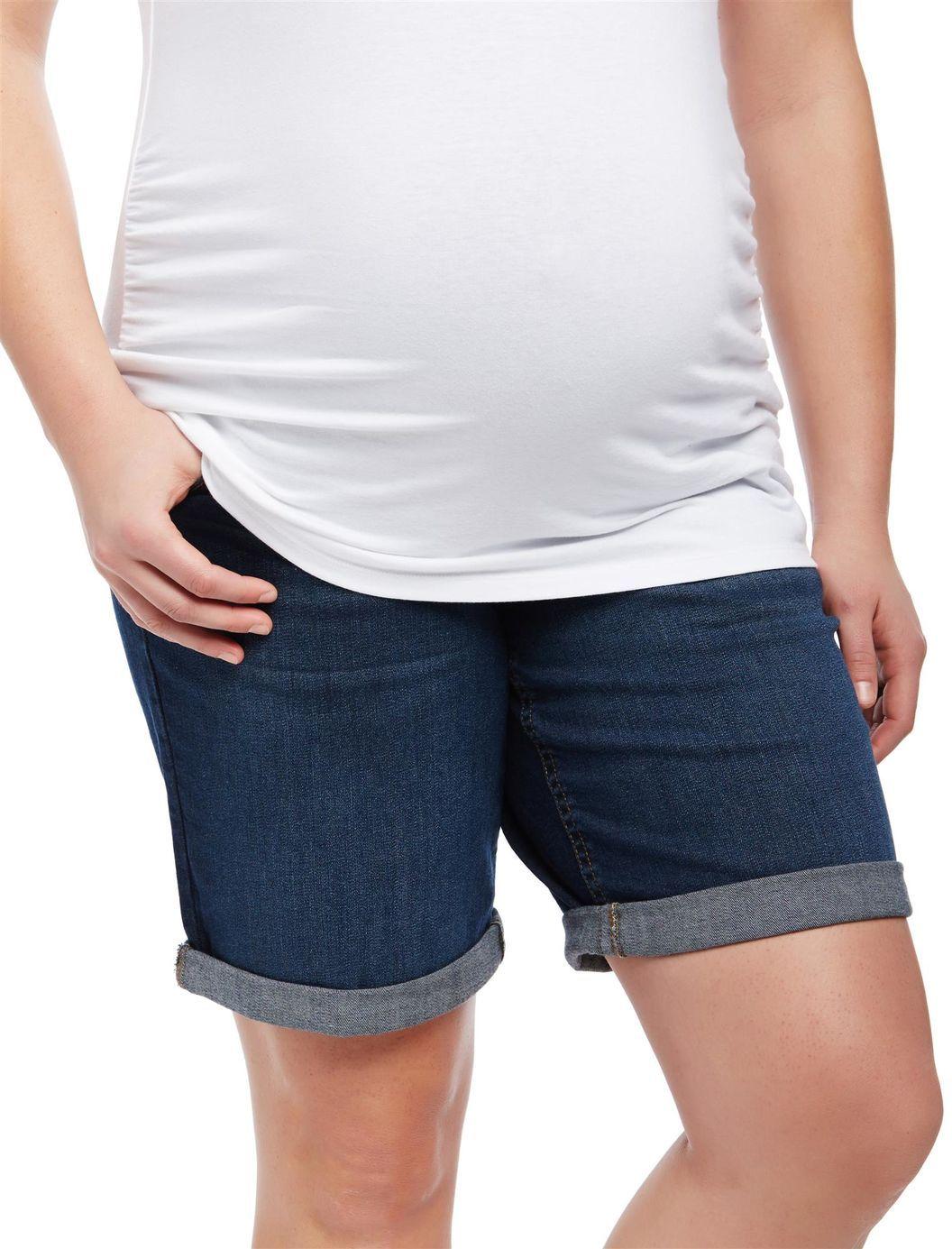0d3cd21432693 Plus Size Secret Fit Belly Roll Hem Maternity Shorts | Motherhood Maternity