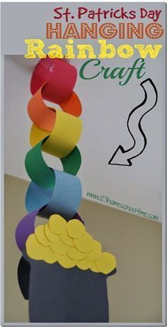 St. Patrick's Day Hanging Rainbow Craft - this is such a cute craft for kids to celebrate st patricks day in march. This is perfect for toddler, preschool, kindergarten, first grade