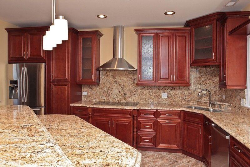 Solarius Granite With A Full Height Backsplash Kitchen Design Decor Granite Backsplash Kitchen Range Hood
