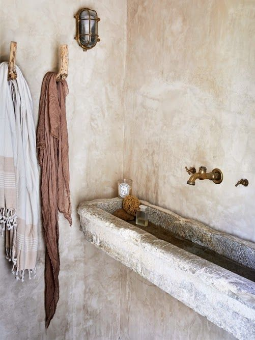 Photo of Bathroom goals: weathered stone walls and sinks, brass fittings #wabisabi #rustic …