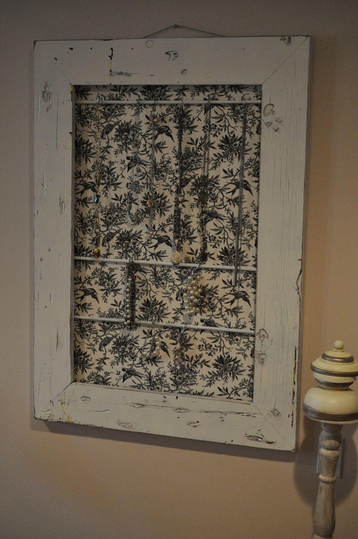 decorative wooden frame jewelry organizer offf white by jacksonwy