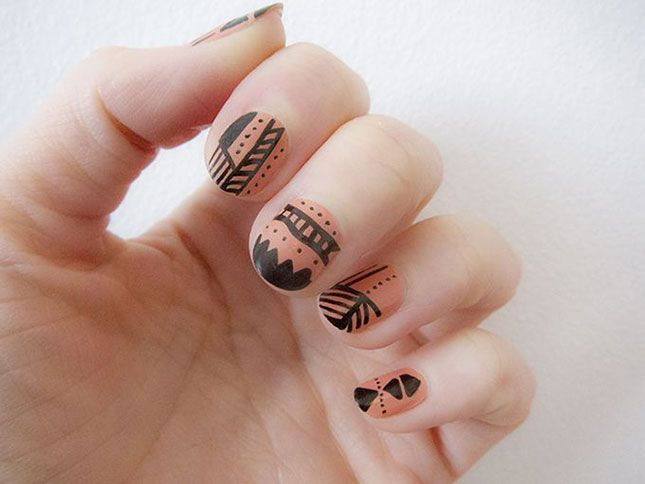 Tribal Nail Art: Ace These 18 Aztec-Inspired Manis | Aztec nail art ...