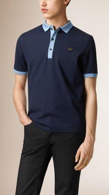 a61c751fc6 Azul marinho azul claro Camisa polo de algodão mercerizado - Imagem ...