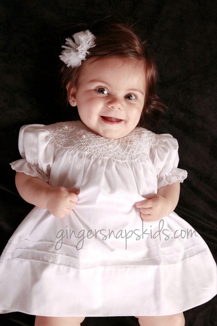 Anavini Smocked Erin White Bishop Dress (sz 3mo last 1)