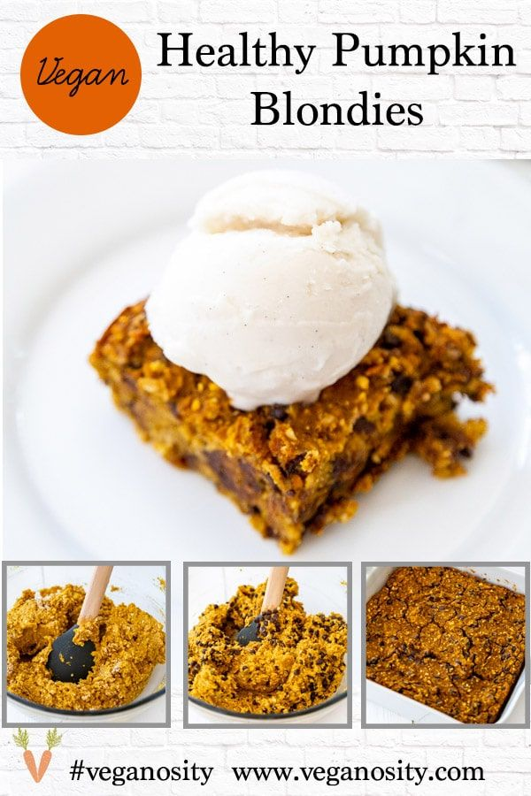 Vegan chocolate chip pumpkin blondies Vegan, dairy-free, egg-free, and gluten-free pumpkin chocolate chip chickpea blondies! These are delicious and easy to make!