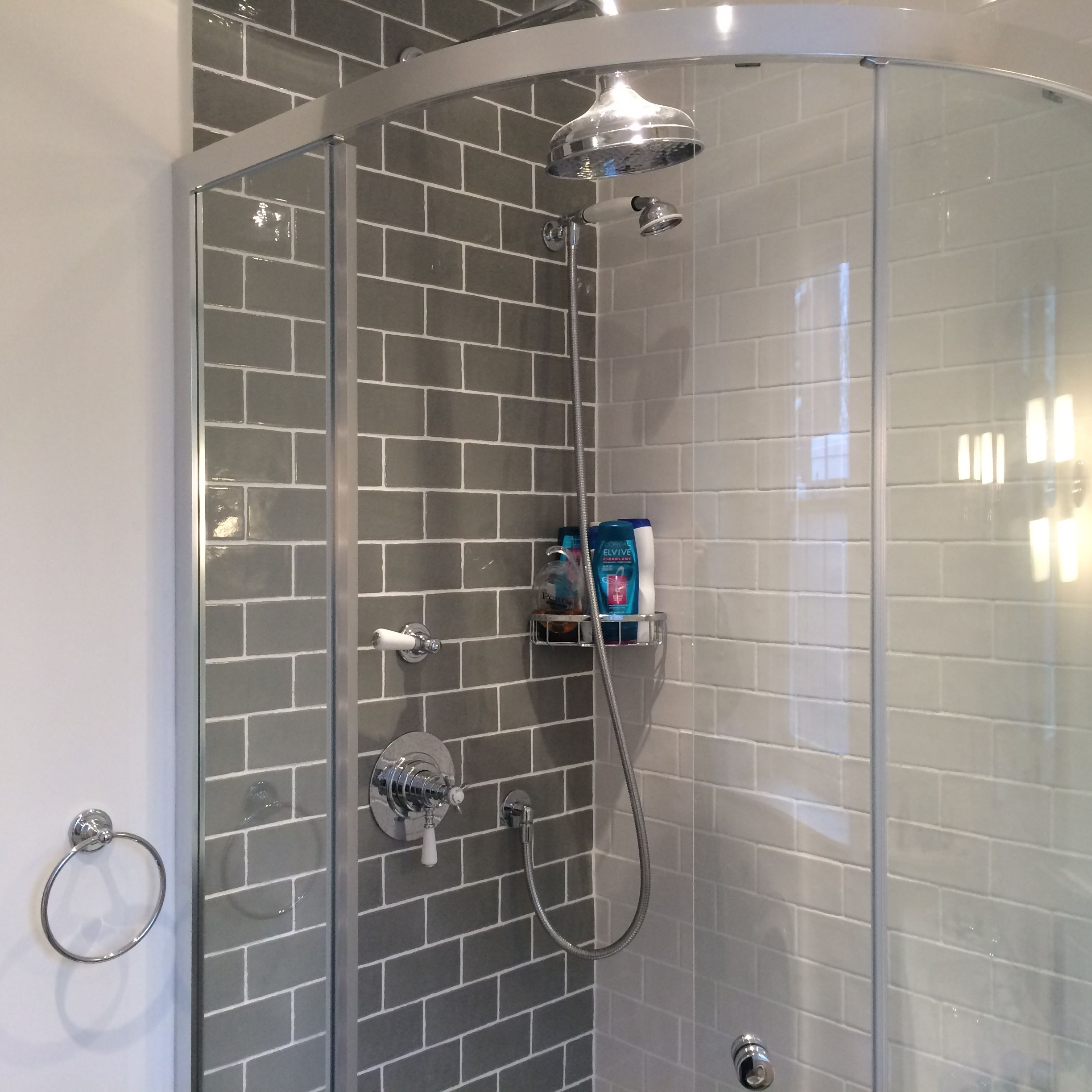 Shower Enclosure With Beautiful Brick Tiles With Images