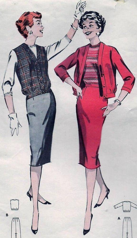 Vintage 50s 60s Skirt & Blouson Jacket Sewing Pattern Butterick 8664 B34 Sz 14