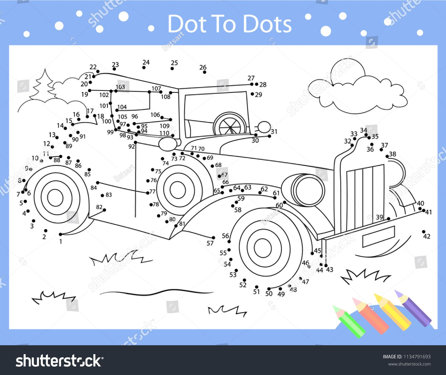 Drawing Worksheets Dot To Dots With Drawn Retro Car