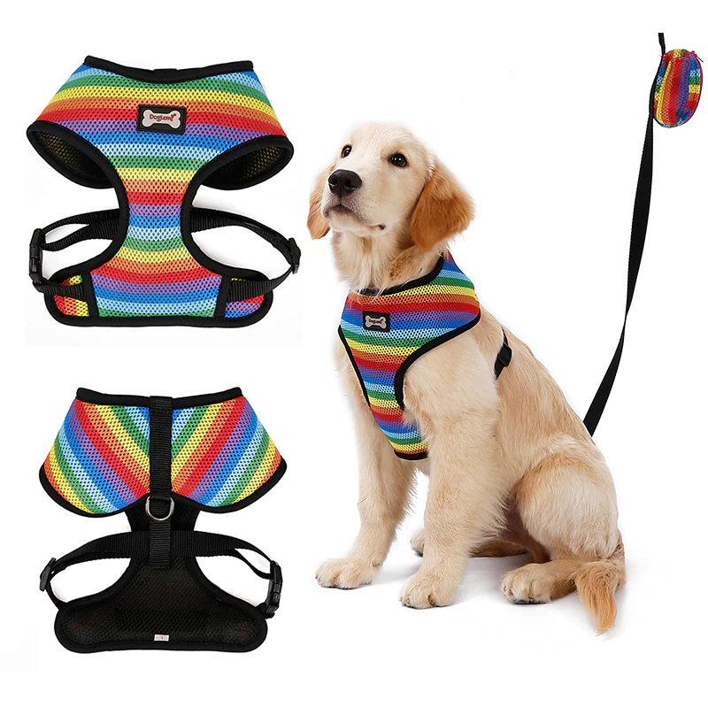 Rainbow Pride Dog Harness Vest With Leash Queerks Dog Vest