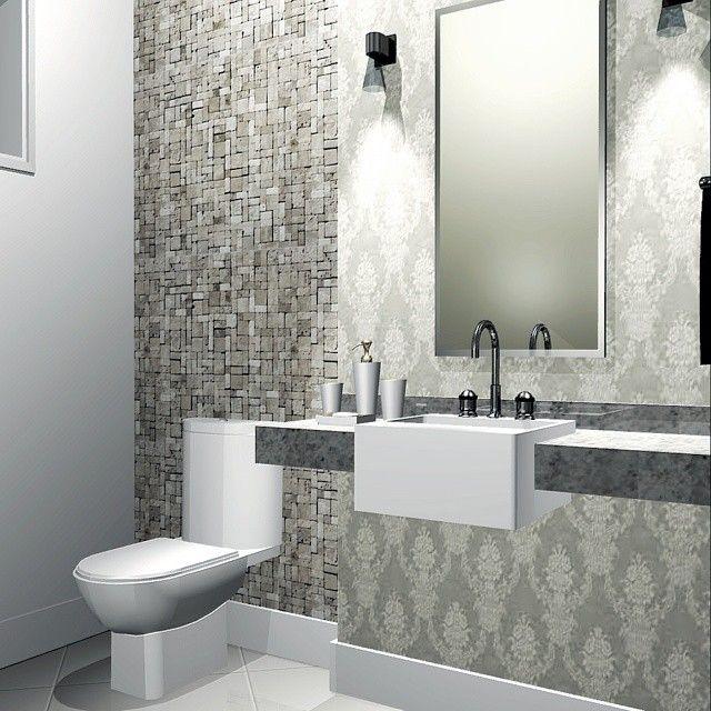 Lavabo: papel de parede + mosaico em pedra natural. __________________________________________ #decor ...