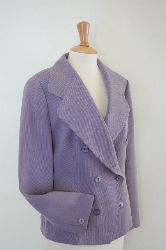 90's Elegant Double Breasted Jacket. Lavender by flyingcloset