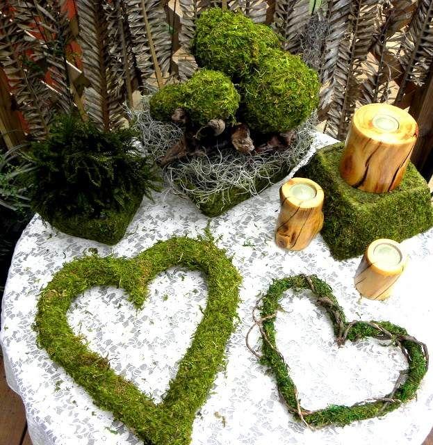 Fruhling Dekorieren Ideen Moos Herzen Schussel Rustikal Kerzen - Moos-para-boda
