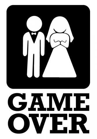 Striscione per matrimonio. Sposo e sposa Game over a partire da€11,59 su striscionimatrimonio.com
