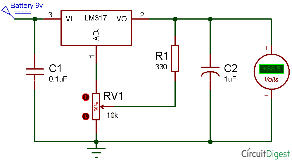 lm317 variable voltage regulator circuit diagram